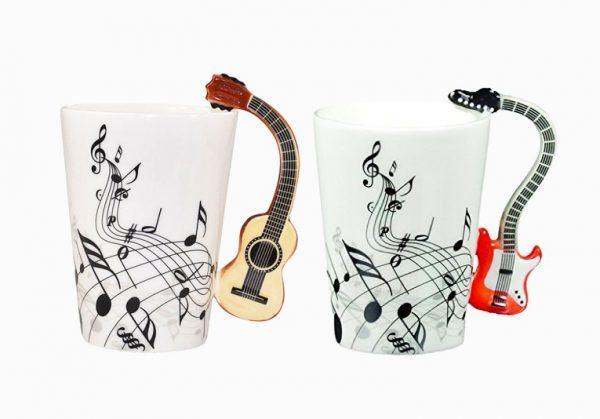 müzik temalı dekorasyon aksesuarları - guitar handle coffee mugs music home decor - Müzik Temalı Dekorasyon Aksesuarları