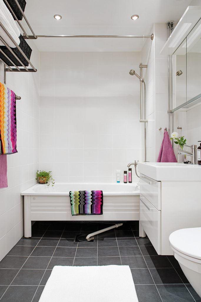 beyaz iskandinav banyo dekorasyon