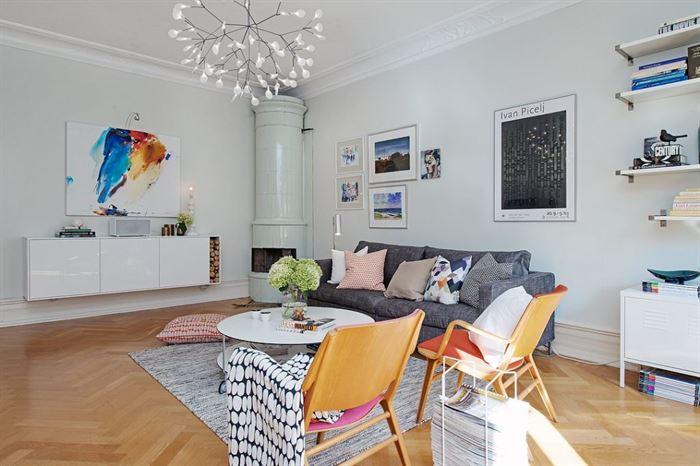 iskandinav dekorasyonlu oturma odası