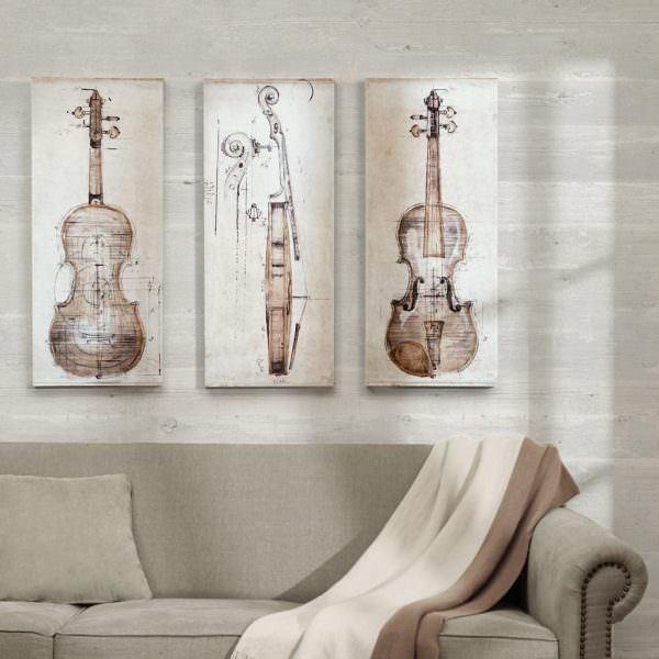 müzik temalı dekorasyon aksesuarları - keman resimli tablo - Müzik Temalı Dekorasyon Aksesuarları