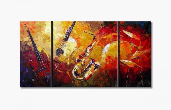 müzik temalı dekorasyon aksesuarları - muzik aletli yagli boya tablo - Müzik Temalı Dekorasyon Aksesuarları