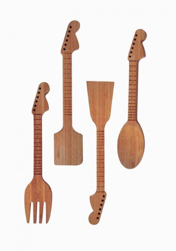 müzik temalı dekorasyon aksesuarları - wooden cutlery set music themed - Müzik Temalı Dekorasyon Aksesuarları