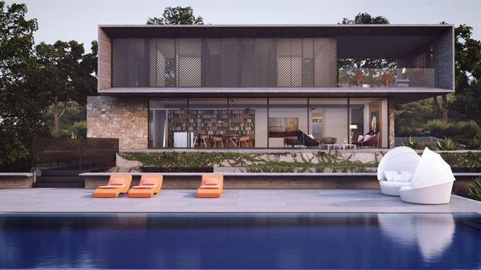 havuzlu-villa-dekorasyonu modern lüks evlerin dış mimari tasarımları