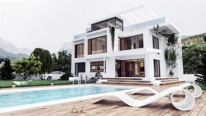 Modern luks villa ve bahce tasarimlari 7 for House exterior material ideas