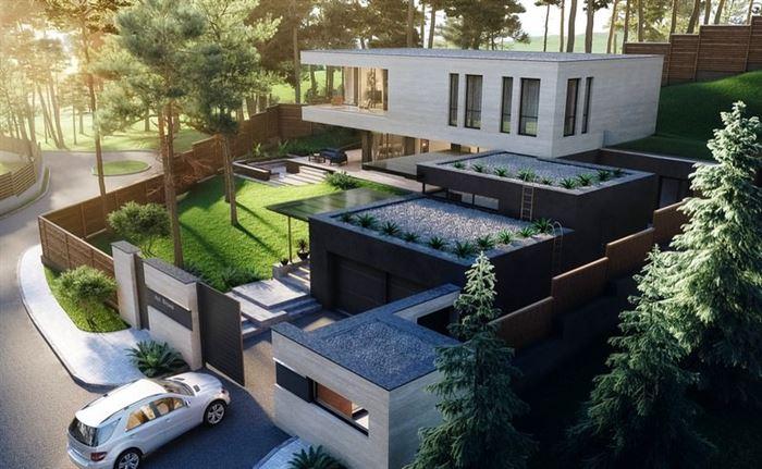 modern-luks-bahceli-villa modern lüks evlerin dış mimari tasarımları
