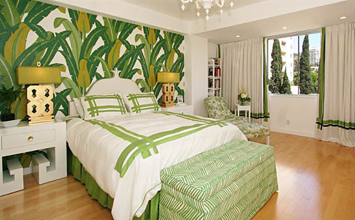 yeşil desenli yatak odası duvar kağıt modelleri