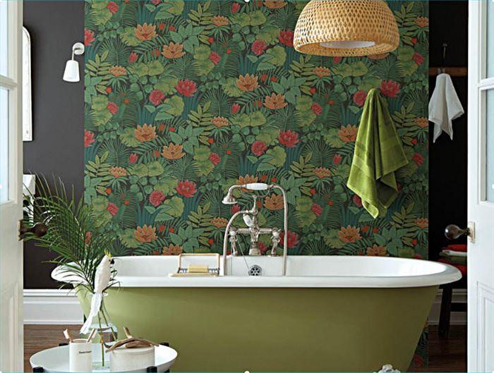 desenli banyo duvar kağıt modelleri