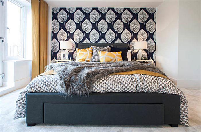 tropikal desenli yatak odası duvar kağıtları