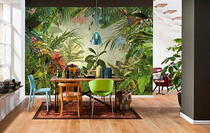 tropikal desenli yemek odası duvar kağıtları