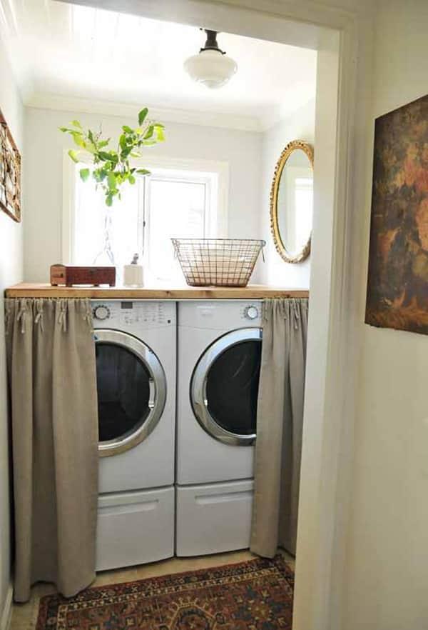 mutfakta çamaşır makinesi dolapları