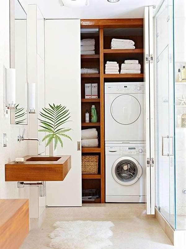 dolap içine çamaşır makinesi