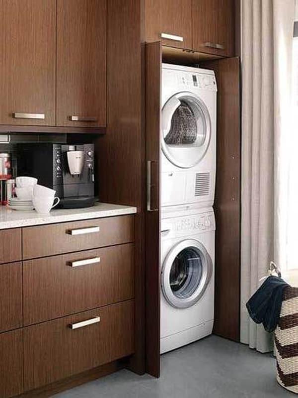 Çamaşır Makinesi Dolap İçine Gizleme Fikirleri 9