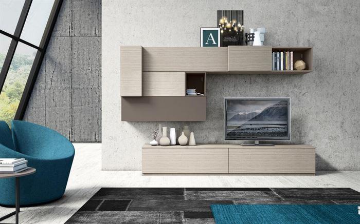 tv ünitesi tekzen duvar Ünitesi modeli arayanlar İçin modern tasarımlar - light wood wall unit with storage - Duvar Ünitesi Modeli Arayanlar İçin Modern Tasarımlar