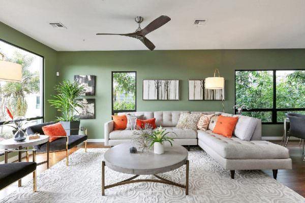 muhteşem yeşil renkli oturma odası dekorasyon fikirleri - yesil duvar boyasi kombinleri 600x400