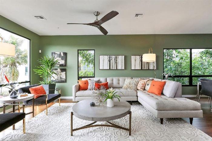 muhteşem yeşil renkli oturma odası dekorasyon fikirleri - yesil duvar boyasi kombinleri