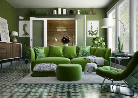 muhteşem yeşil renkli oturma odası dekorasyon fikirleri - yesil renk dekorasyon ornekleri 560x400