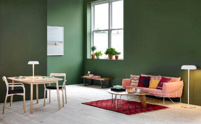 muhteşem yeşil renkli oturma odası dekorasyon fikirleri - yesil renk kombinleri oturma odasi 650x400