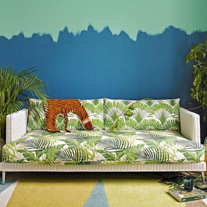 tropkal renk ve desenl oturma odası dekorasyon