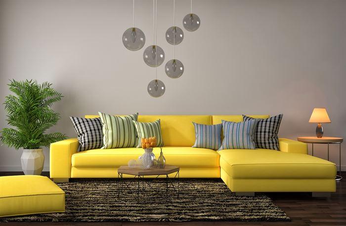 sarı köşe koltuk dekorasyon