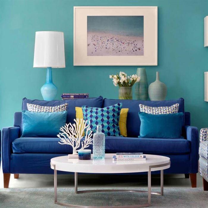 turkuaz dekorasyonlu oturma odası