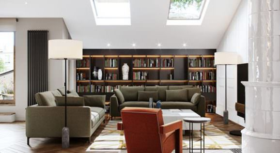 tavan cam penceresi ev-cam-tavan-dekorasyon-fikirleri