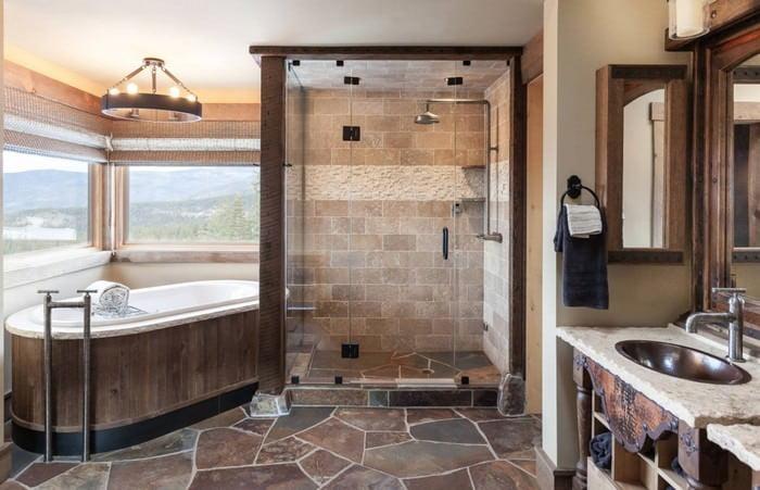 doğanın güzelliğinden esinlenen rustik banyo fikirleri - Rustik banyo dekorasyon fikirleri 17