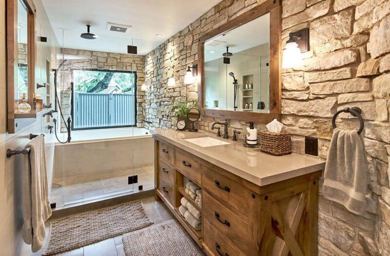 doğanın güzelliğinden esinlenen rustik banyo fikirleri - Rustik banyo dekorasyon fikirleri 3