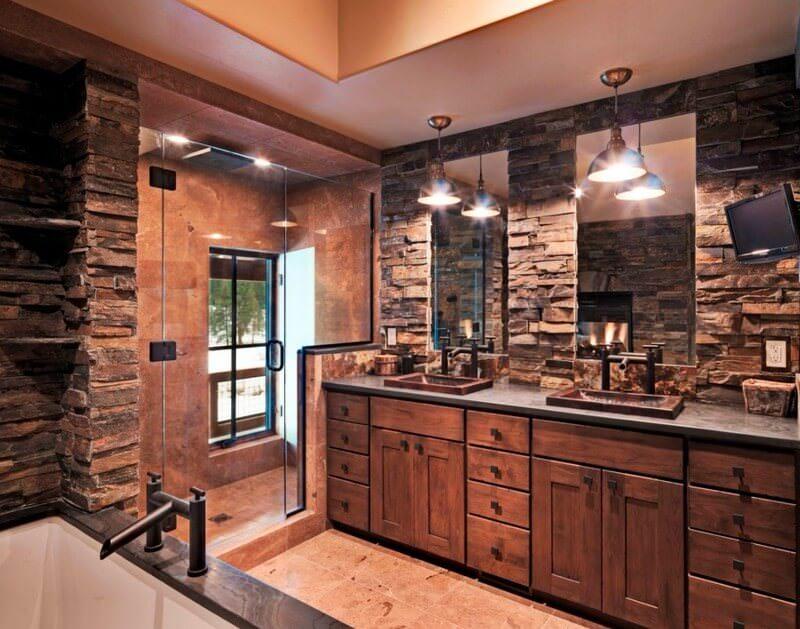 doğanın güzelliğinden esinlenen rustik banyo fikirleri - Rustik banyo dekorasyon fikirleri 4