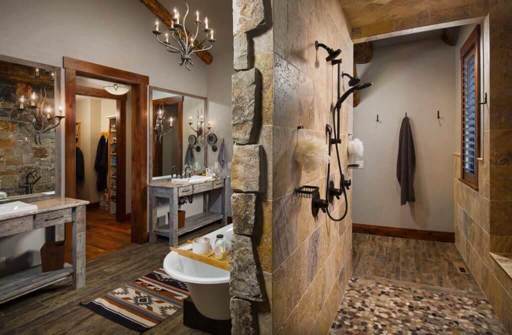 Doğanın Güzelliğinden Esinlenen Rustik Banyo Fikirleri 18