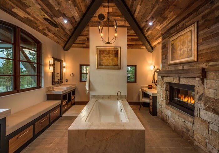Doğanın Güzelliğinden Esinlenen Rustik Banyo Fikirleri 16