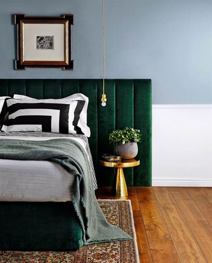 yeşil renk yatak odası dekorasyon