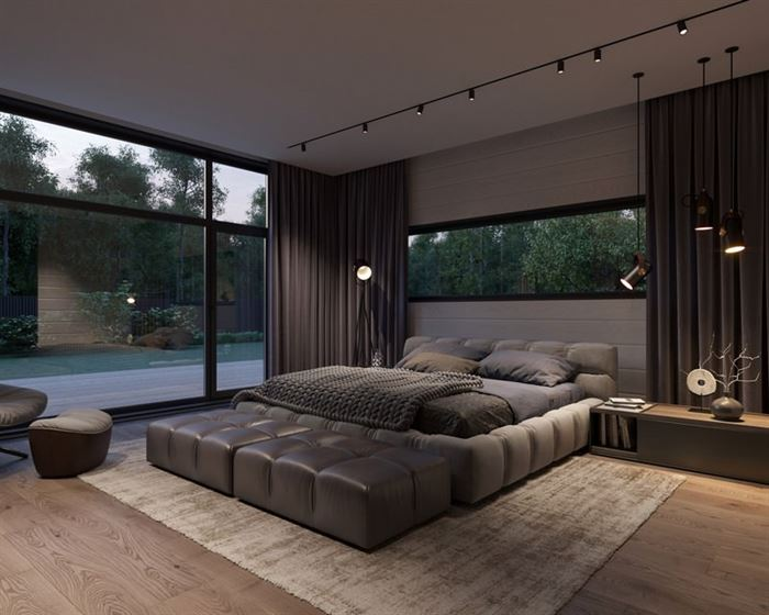 geniş yataklı yatak odası dekorasyon