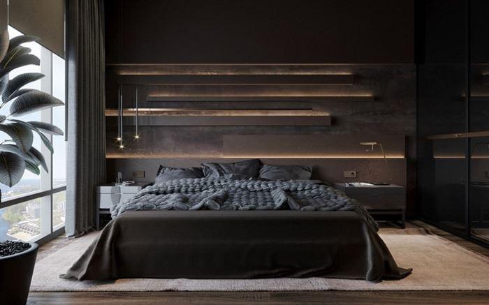 koyu renkli yatak odası dekorasyon