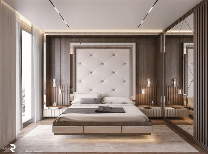lüks açık renkli yatak odası dekorasyon