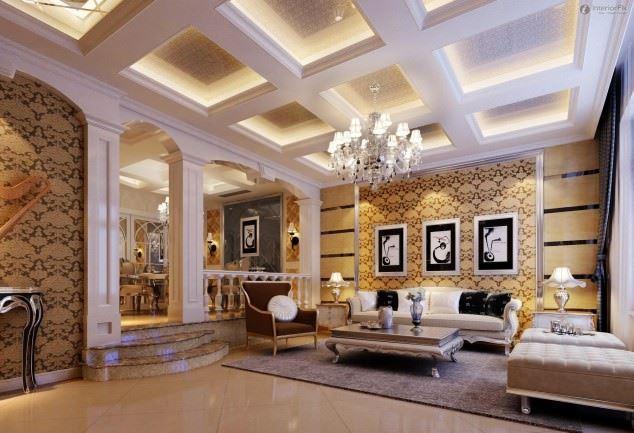 büyüleyici klasik salon tavan tasarımları - klasik tavan dekorasyonlari 1 - Büyüleyici Klasik Salon Tavan Tasarımları