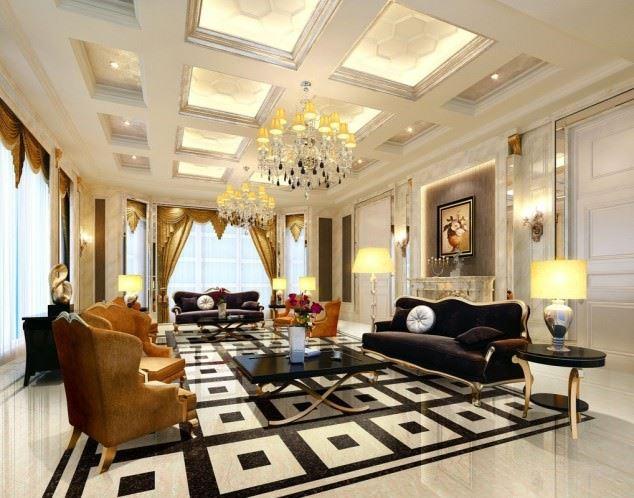 büyüleyici klasik salon tavan tasarımları - klasik tavan dekorasyonlari 3 - Büyüleyici Klasik Salon Tavan Tasarımları