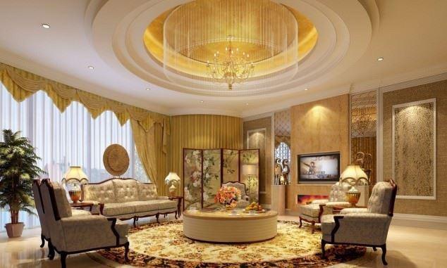Büyüleyici Klasik Salon Tavan Tasarımları 61