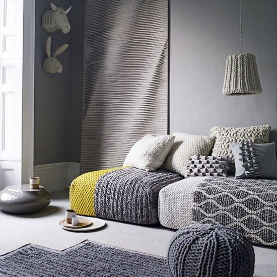 Grey living room with wool furnishings 1