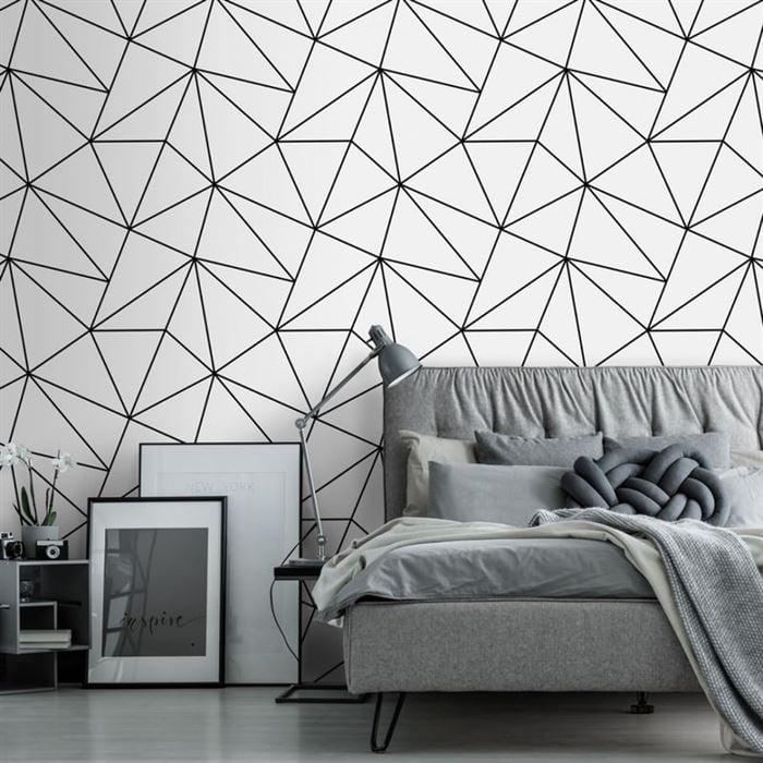 Geometrik Desenli Duvar Kağıtları black and white geometric
