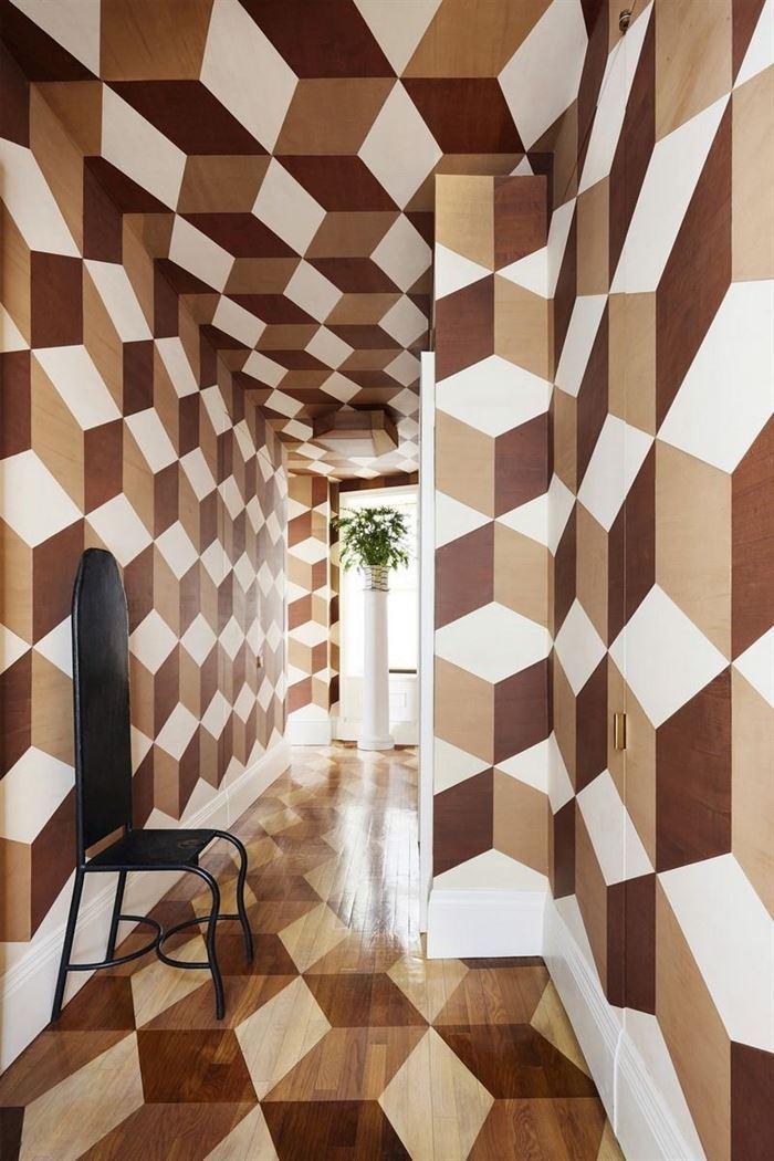 Geometrik Desenli Duvar Kağıtları handpainted geometric walls