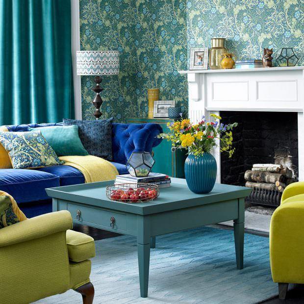 mavi oturma odası dekorasyon stilleri