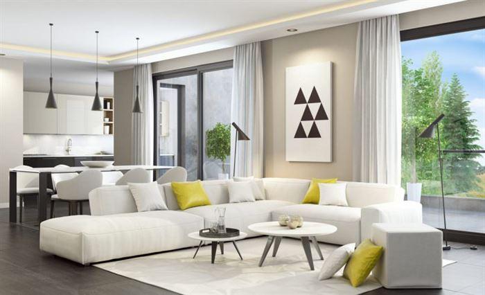 beyaz köşe koltuklu oturma odası dekorasyonu