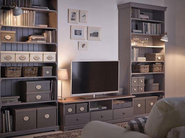 ikea çekmeceli raflı tv ünite