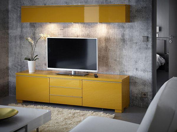ikea sarı dolaplı kapaklı tv ünite