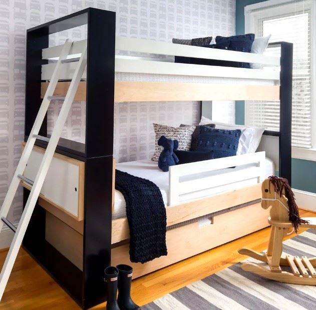 siyah çocuk odası ranza modeli