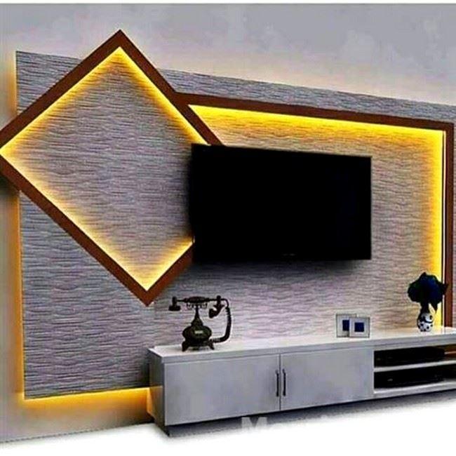 dekoratif alçıpandan tv ünitesi