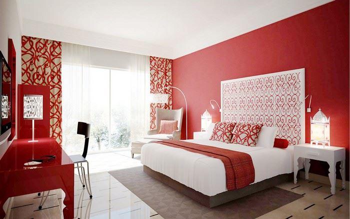 yatak odasında kırmızı kullanımı