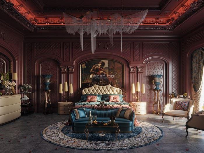 kırmızı renk yatak odası dizaynı