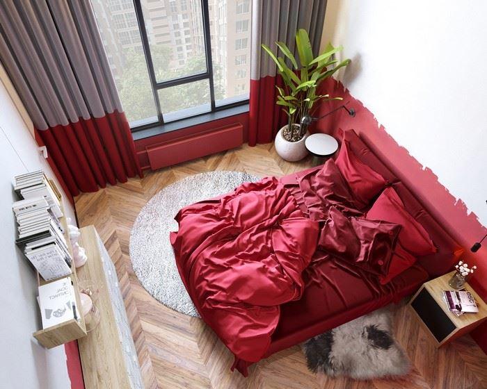 Kırmızı Renk Kombinleri İle Yatak Odası Dekorasyonları 23