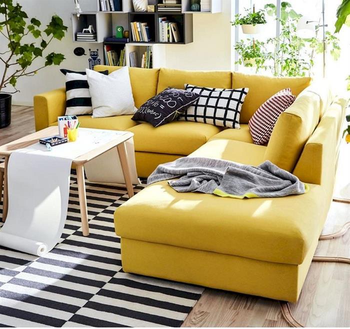 Sarı köşe koltuk modeli